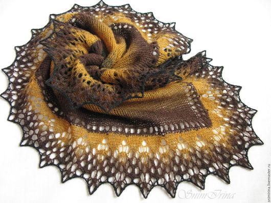 Шали, фишу, палантины ручной работы. Ярмарка мастеров - ручная работа. Купить шаль из кауни Lazy Katy (Ленивая Катя) . Handmade. Разноцветная, черно-коричневая, кауни. Фишу, бактус