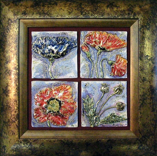 Картины цветов ручной работы. Ярмарка Мастеров - ручная работа. Купить Синий мак. Handmade. Синий, мак, Керамика