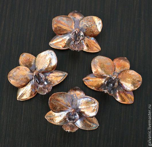 Для украшений ручной работы. Ярмарка Мастеров - ручная работа. Купить Орхидея омедненная, частично патинированная. Handmade. Комбинированный
