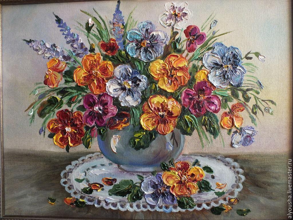 Картина с цветами масло холст Анютины глазки – купить на Ярмарке Мастеров – 6AUN3RU | Картины, Зеленоград