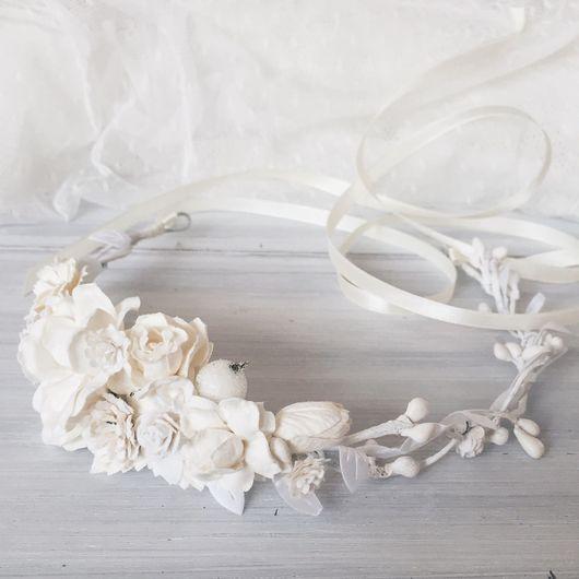 Диадемы, обручи ручной работы. Ярмарка Мастеров - ручная работа. Купить Венок на голову Serenity in White. Handmade. Веночек