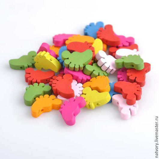 """Для украшений ручной работы. Ярмарка Мастеров - ручная работа. Купить Бусины деревянные """"Ножки"""" разноцветные. Handmade. Бусины"""
