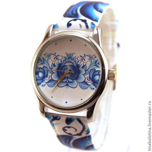 Часы ручной работы. Ярмарка Мастеров - ручная работа. Купить Дизайнерские наручные часы Гжель. Handmade. Гжельский узор часы