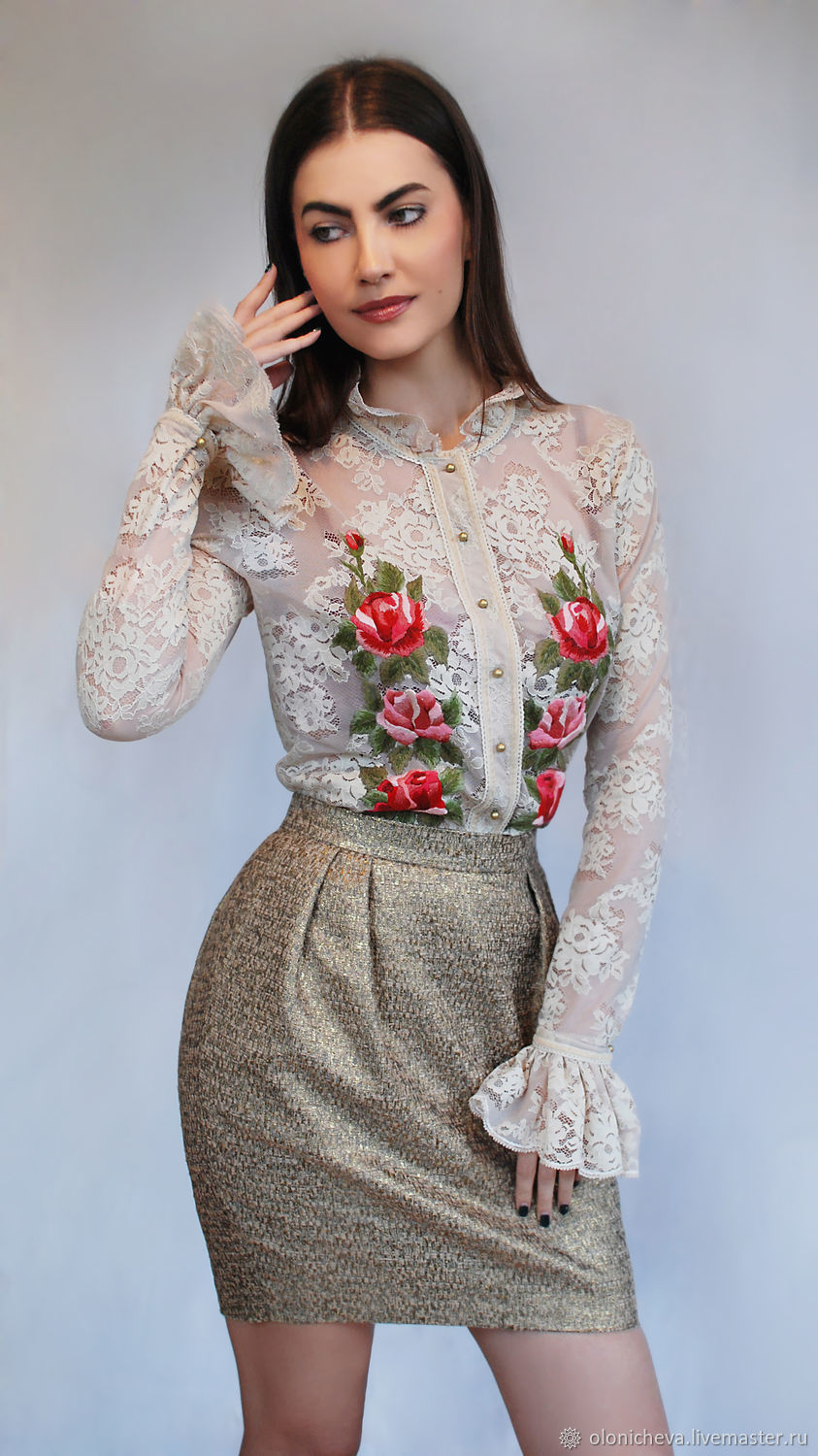 Luxurious Guipure Blouse Quot Antique Rose Quot With Hand