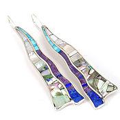 Украшения handmade. Livemaster - original item earrings long. Lapis Lazuli, Turquoise, Charoite, Mother Of Pearl. Earrings exclusive. Handmade.