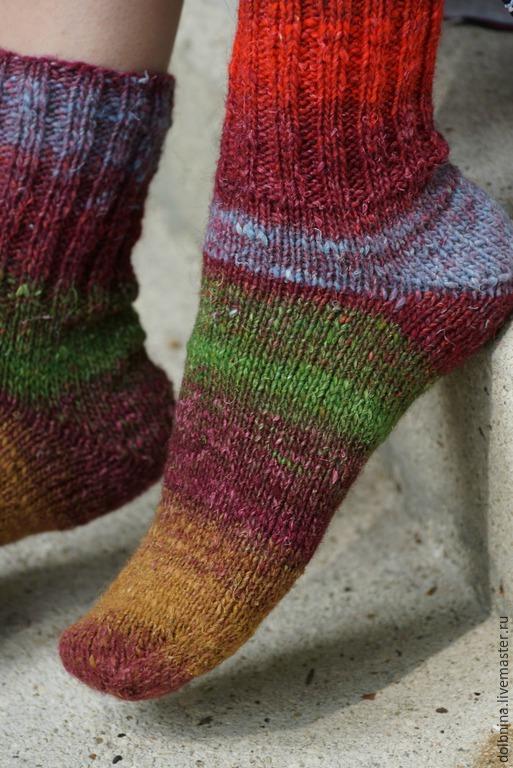 Носки, Чулки ручной работы. Ярмарка Мастеров - ручная работа. Купить Женские носки Noro brown&red&green. Handmade. Коричневый