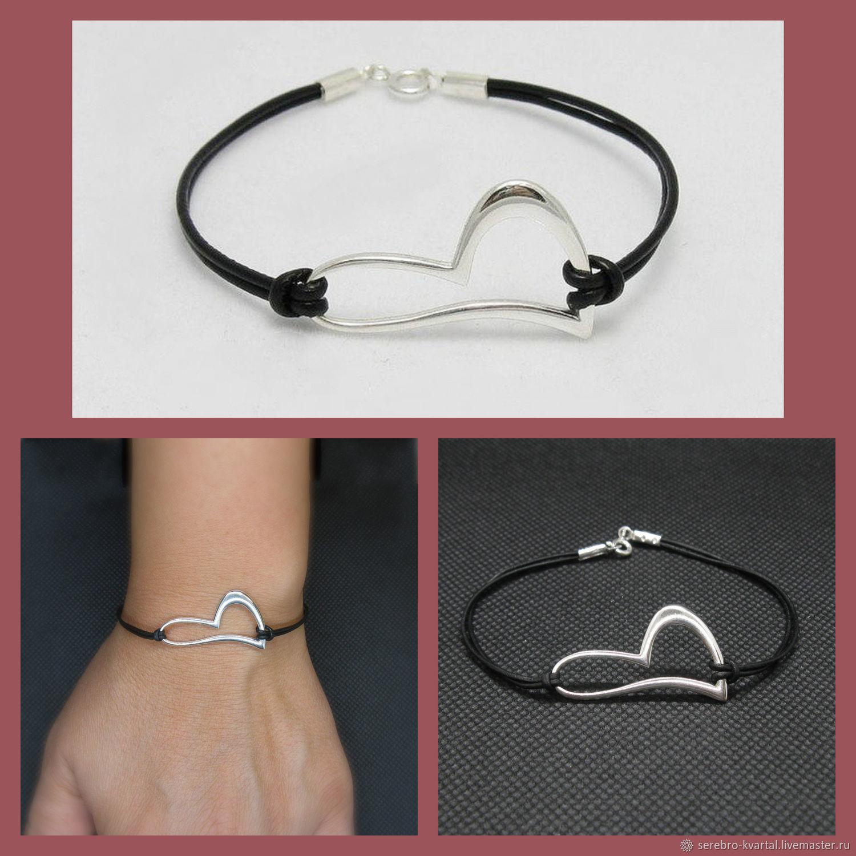 Heart Bracelet 925 Silver. Leather lace, Cord bracelet, Turin,  Фото №1