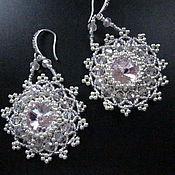 Украшения ручной работы. Ярмарка Мастеров - ручная работа Серьги с розовыми кристаллами. Handmade.