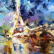 Pictures handmade. Livemaster - original item Oil painting night Paris ( dark blue city ). Handmade.