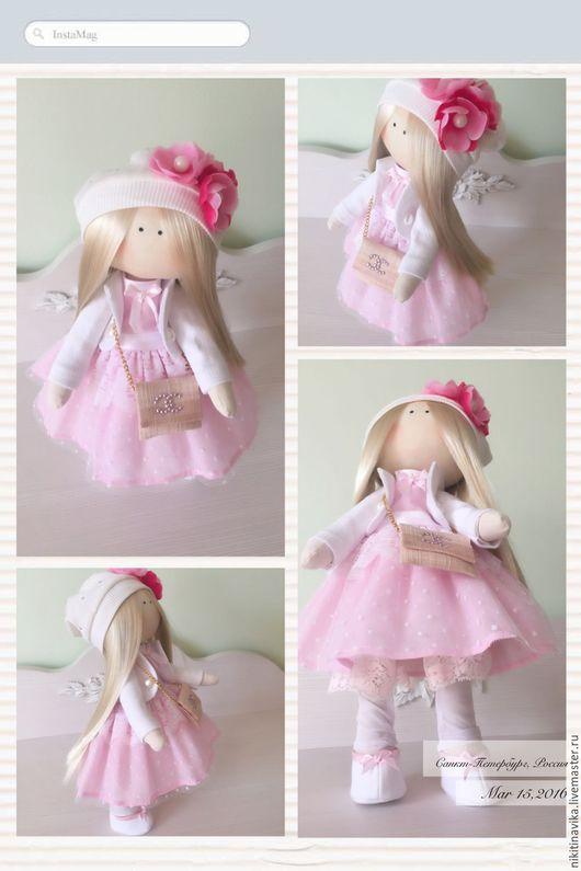 Куклы тыквоголовки ручной работы. Ярмарка Мастеров - ручная работа. Купить Куколка в Розовом платье. Handmade. Интерьерная кукла, стразы