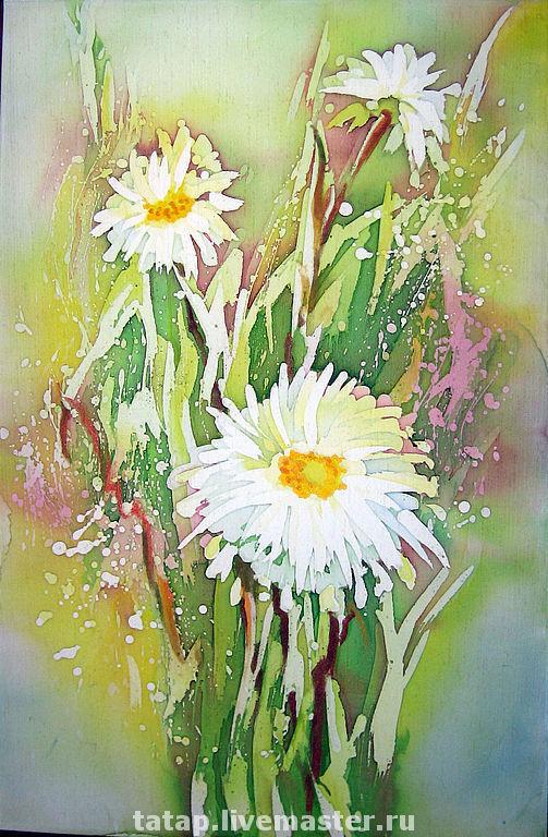 Картины цветов ручной работы. Ярмарка Мастеров - ручная работа. Купить Полевые цветы. Handmade. Цветы, ромашки, букет, белый