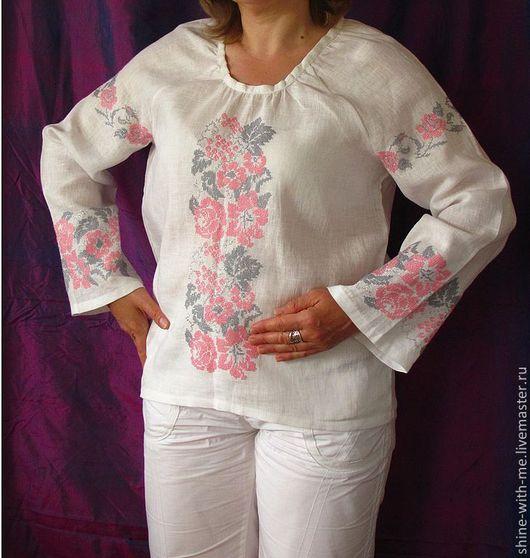 Этническая одежда ручной работы. Ярмарка Мастеров - ручная работа. Купить Льняная блуза с ручной вышивкой.. Handmade. Одежда для женщин
