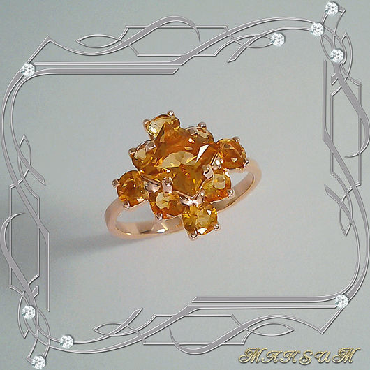 Ring 'Chamomile (square)' gold 585 with natural citrines, Rings, St. Petersburg,  Фото №1