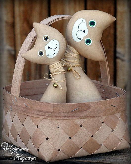 Ароматизированные куклы ручной работы. Ярмарка Мастеров - ручная работа. Купить Кошки в лукошке Интерьерная Текстильная Кукла Парочка Кофейная игрушка. Handmade.