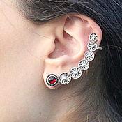 handmade. Livemaster - original item Cuff Circles Earring in 925 sterling silver GA0030-5. Handmade.