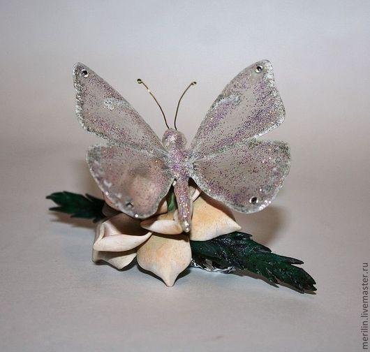 """Заколки ручной работы. Ярмарка Мастеров - ручная работа. Купить Заколка """"Грациозная бабочка"""" 3. Handmade. Заколка с цветами"""