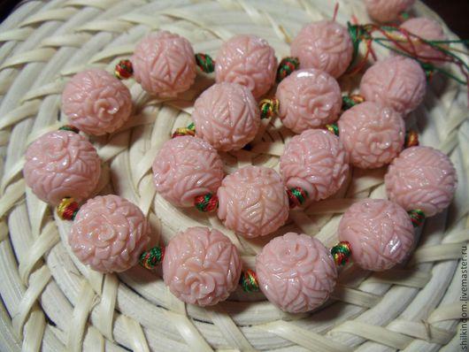 Для украшений ручной работы. Ярмарка Мастеров - ручная работа. Купить Резные бусины шары из пресованного коралла-15мм. Handmade.