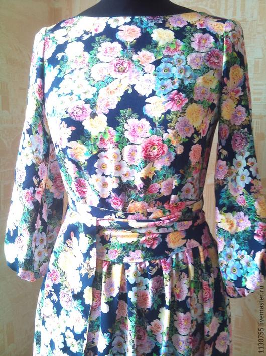 """Платья ручной работы. Ярмарка Мастеров - ручная работа. Купить Платье  в пол, платье миди """"синие цветы"""" из штапеля. Handmade."""
