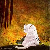 Картины ручной работы. Ярмарка Мастеров - ручная работа Девочка и Белая кошка. (бес них)  авторский принт. Handmade.