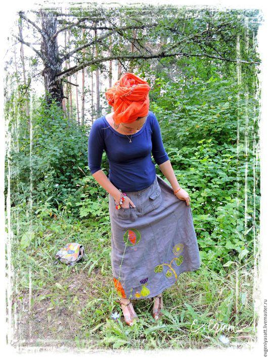 """Юбки ручной работы. Ярмарка Мастеров - ручная работа. Купить юбка """"Уроки Рисования"""". Handmade. Рисунок, юбка с карманами, лён"""