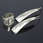 Украшения handmade. Livemaster - original item Minima Series Feather ring and earrings in silver with embossed narrow ring. Handmade.