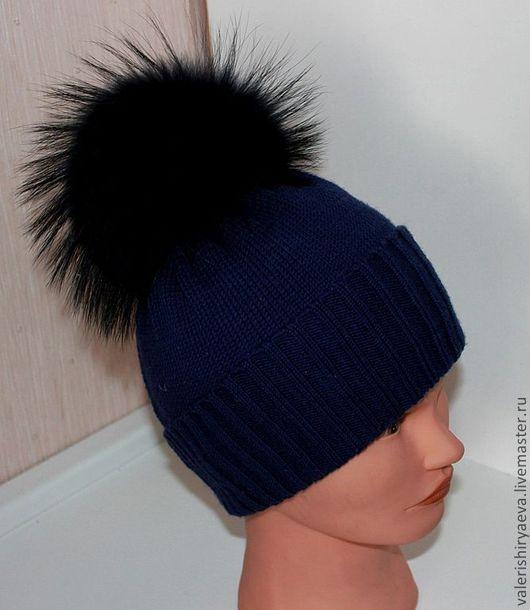 Шапки и шарфы ручной работы. Ярмарка Мастеров - ручная работа. Купить Зимняя вязаная шапочка Мороз. Handmade. Тёмно-синий