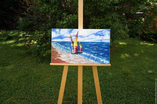 Пейзаж ручной работы. Ярмарка Мастеров - ручная работа. Купить Картина маслом Моская прогулка. Handmade. Комбинированный, море