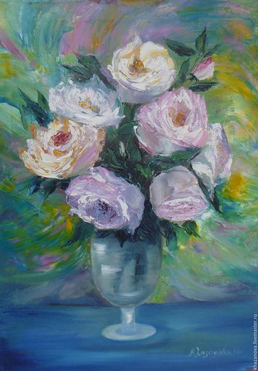 """Картины цветов ручной работы. Ярмарка Мастеров - ручная работа. Купить """"Весенние розы"""" (холст/масло). Handmade. Морская волна, мастихин"""