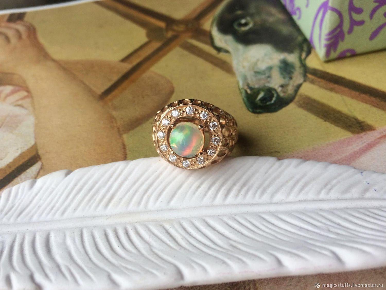 Кольца ручной работы. Ярмарка Мастеров - ручная работа. Купить Позолоченное кольцо с природным эфиопским опалом. Handmade. Перстень