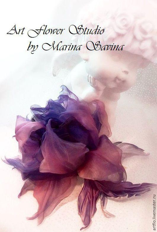 """Цветы ручной работы. Ярмарка Мастеров - ручная работа. Купить Роза """"Royal majesty"""" -  брошь, украшение в причёску, вуалетка. Handmade."""