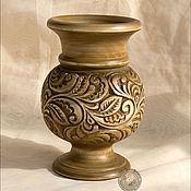 Для дома и интерьера ручной работы. Ярмарка Мастеров - ручная работа Вазочка деревянная резная. Handmade.
