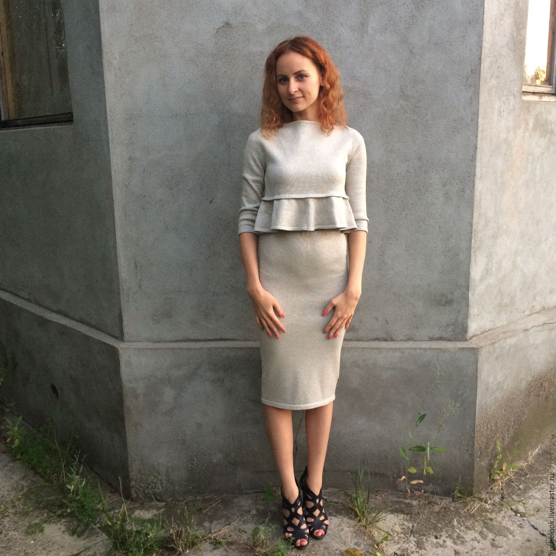 Вязаная юбка и кофта женская