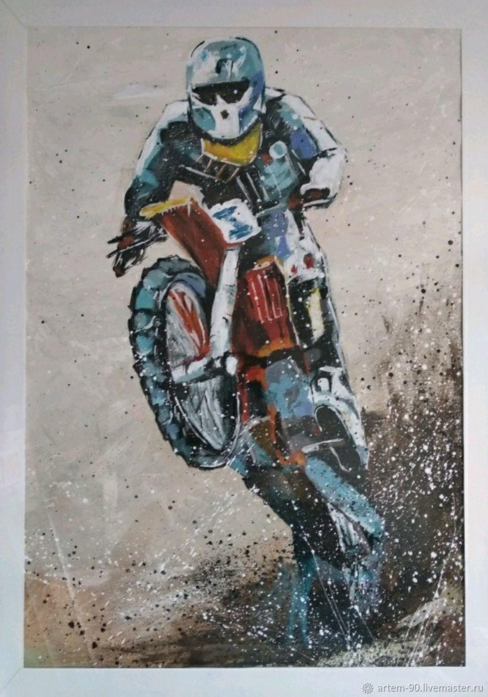 Картина мотоцикл эндуро, Картины, Каменск-Уральский,  Фото №1