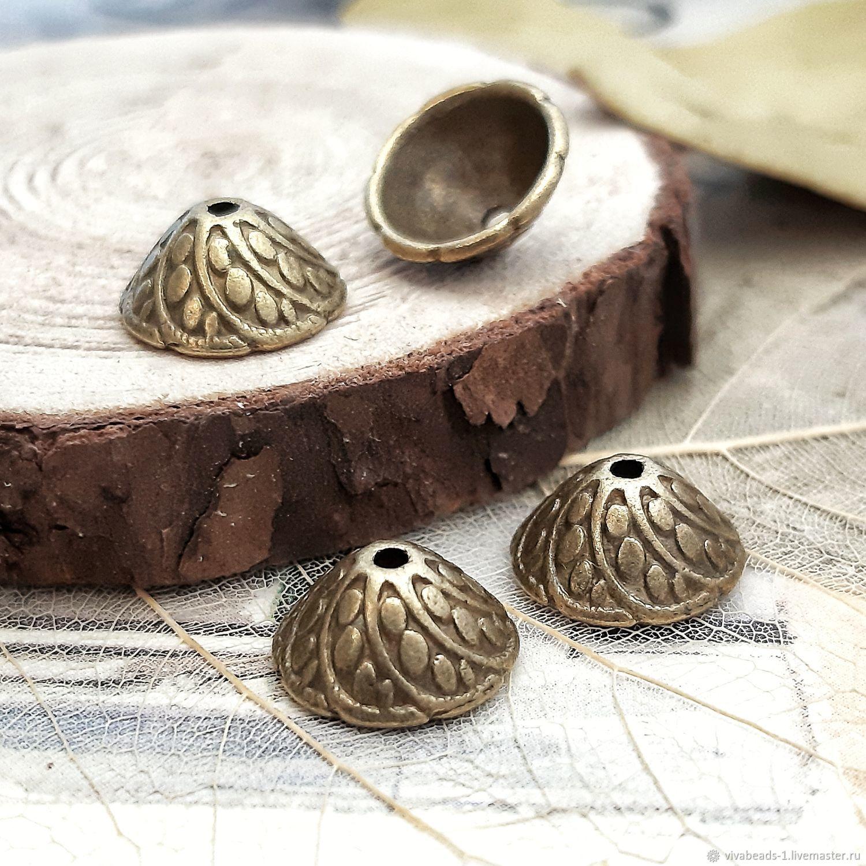 10 PCs. Beads caps 11h6mm BRONZE (art. 3046), Accessories for jewelry, Voronezh,  Фото №1