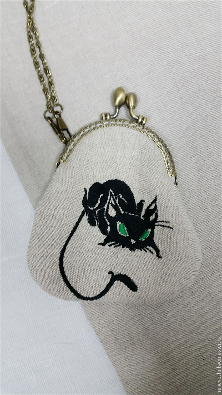 PURSE ON THE CLASP. Series Black cat, Wallets, Ivanovo,  Фото №1