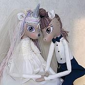 Подарки ручной работы. Ярмарка Мастеров - ручная работа Подарки: Куклы на свадьбу пара, интерьерные куклы жених и невеста. Handmade.