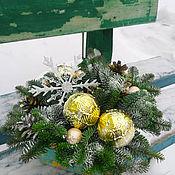 Композиции ручной работы. Ярмарка Мастеров - ручная работа Новогодняя живая композиция в картонной коробке. Handmade.