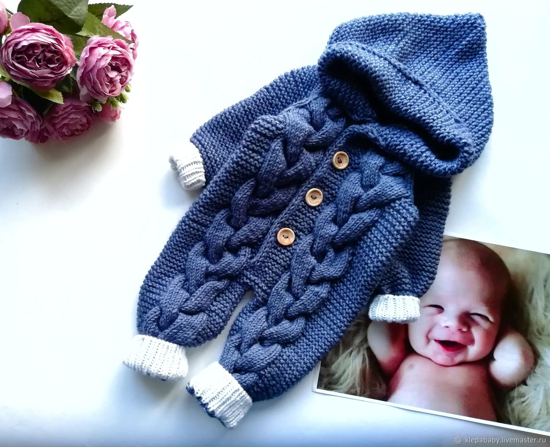 """Вязаный комбинезон """"Джинсовый мишка"""" для новорожденного, Комбинезоны, Санкт-Петербург,  Фото №1"""