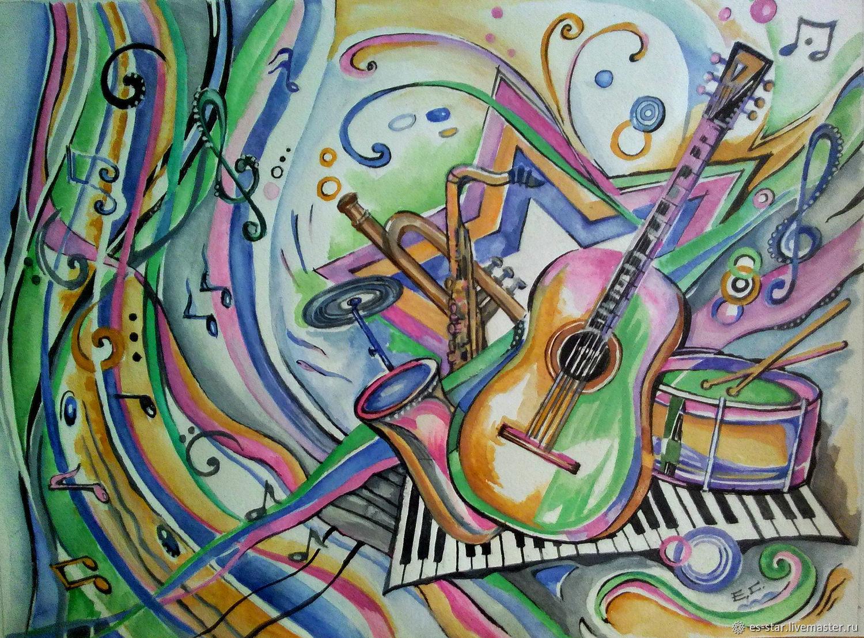 Картинки срисовать цветные про музыку