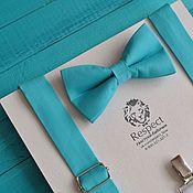 Аксессуары ручной работы. Ярмарка Мастеров - ручная работа Бирюзовая галстук бабочка жениха + бирюзовые подтяжки Классика. Handmade.