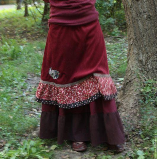 Юбки ручной работы. Ярмарка Мастеров - ручная работа. Купить Вельветовая юбочка с птицей. Handmade. Юбка из вельвета, осенняя юбка