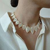 Винтаж handmade. Livemaster - original item Vintage Necklace Leaves made of natural mother of pearl African choker. Handmade.