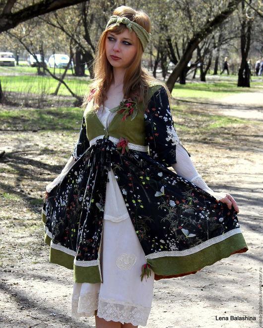 """Платья ручной работы. Ярмарка Мастеров - ручная работа. Купить Платье""""Первая зелень"""". Handmade. Комбинированный, Авторский дизайн, платье"""