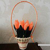 Букеты ручной работы. Ярмарка Мастеров - ручная работа Корзина с тюльпанами в технике тильда. Handmade.
