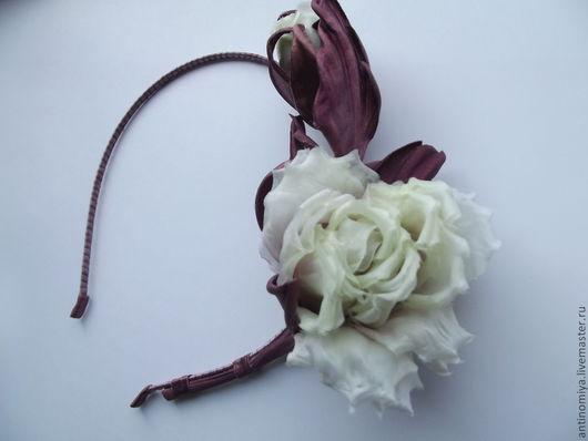 """Диадемы, обручи ручной работы. Ярмарка Мастеров - ручная работа. Купить Шелковые цветы. Ободок """"Эйприл"""". Handmade. Мятный, бордовый"""