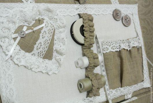 Большой короб шкатулка для рукоделия с хб кружевом Прованс Органайзер для рукоделия