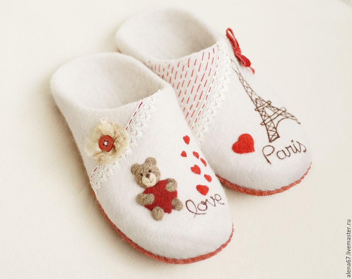 Обувь ручной работы.Купить нарядные валяные тапочки с рисунком. Ярмарка Мастеров - ручная работа. Handmade