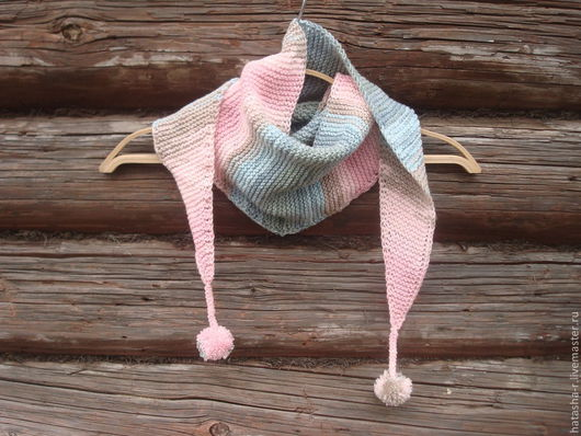 Шарфы и шарфики ручной работы. Ярмарка Мастеров - ручная работа. Купить Бактус розово-голубой. Handmade. В полоску