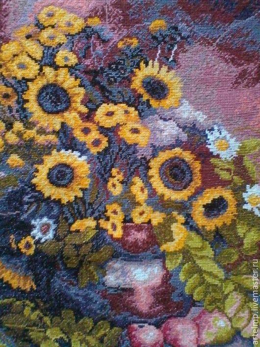 """Картины цветов ручной работы. Ярмарка Мастеров - ручная работа. Купить Вышивка крестом """"Подсолнухи"""". Handmade. Комбинированный, Вышитая картина"""