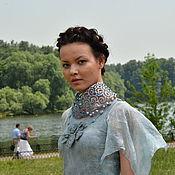 Одежда ручной работы. Ярмарка Мастеров - ручная работа Серо-голубое платье с крыльями. Handmade.